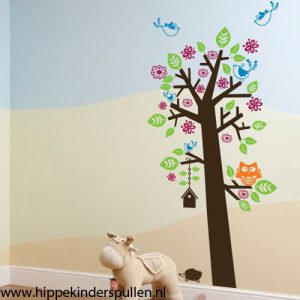 muursticker boom met uil en vogelhuisje
