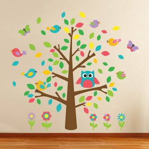 Muursticker boom met uil en vogeltjes