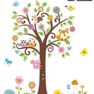 muursticker boom met vosje en uiltjes
