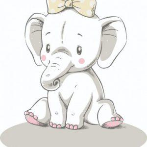 geboortebord tuin olifantje met strik