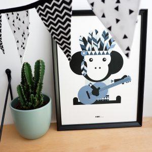 poster indiaan aap blauw