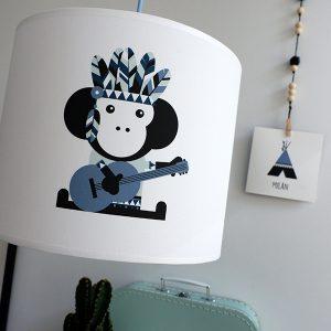 kinderlamp indiaan aap blauw