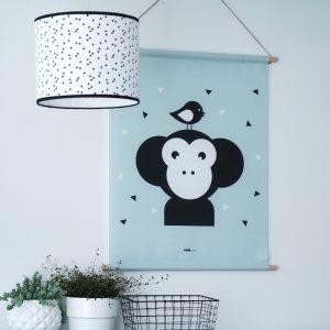 textielposter apenkop groen