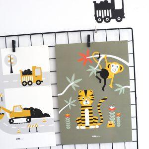 poster jungle tijger olijfgroen
